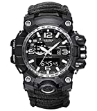 6-in-1 Top Brand Men Sports Watches Dual Display Analog Digital LED Electronic Quartz Wristwatches Waterproof Swimming Military Watch (Black Dial Face 2)