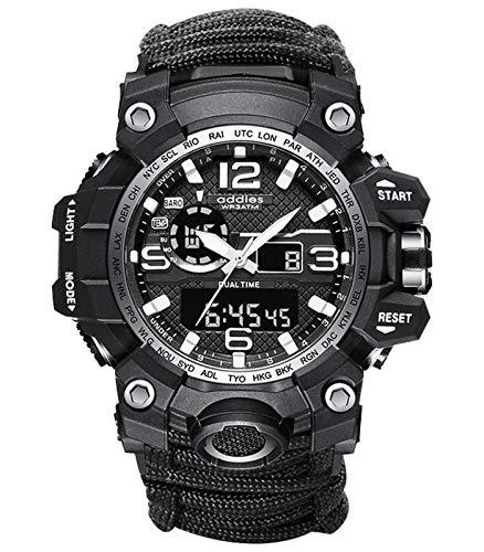 Relógio masculino esportivo 6 em 1 com visor duplo, analógico, digital, LED, quartzo, à prova d'água, natação, militar, Mostrador preto - Face 2