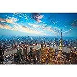JW-MZPT Holzpuzzle, Comic Landschaft Dekomprimierung pädagogisches Spielzeug Porch Dekorative Malerei, Shanghai Nacht Puzzle,2000pieces