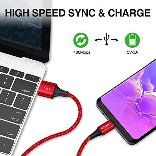 USB Typ C Kabel, AVIWIS [4Pack 0.3M 1M 2M 3M] 3A Nylon USB C Ladekabel und Datenkabel Typ C Schnellladekabel für Samsung Galaxy S10/S9/S8+, Huawei P20/P10/Mate 20, Google Pixel