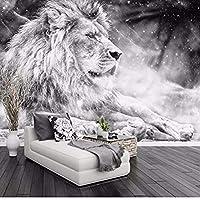 Djskhf 3 Dの黒と白のライオン動物壁画背景壁装飾リビングルームベッドルーム 400X280Cm