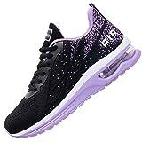 Impdoo Women's Air Athletic Running Sneaker Cute Fitness Sport Gym Jogging Tennis Shoes (Blackpurple US 7.5 B(M)