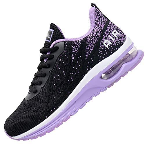 Impdoo Women's Air Athletic Running Sneaker Cute Fitness Sport Gym Jogging Tennis Shoes (Blackpurple US 8 B(M)
