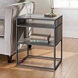 Walker Edison Furniture Company Industrial Modern Metal Frame Wood Rectangle Side Accent Set Living Room Storage Shelf End Table, Grey Wash