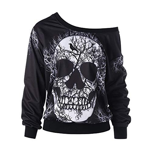 WWricotta Women's Long Sleeve Skew Neck Skull Print Halloween Sweatshirt Blouse Top Shirt