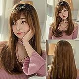 PIAOLIGN Peluca de 22 pulgadas de largo sintético peluca con raíz oscura, color degradado, alta densidad natural titular calor permanente peluca compatible con mujeres
