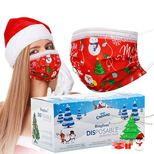 Christmas Masks for Women Disposable - 50 pcs Christmas mask Disposable for Adult 3 Layer Christmas Masks for Man with Nose Clip and Ear Loops (Adult red)