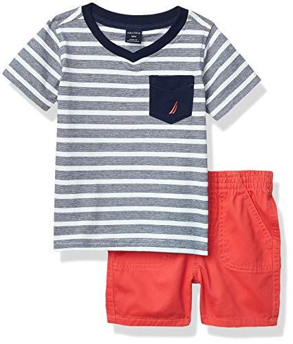 Nautica Sets (KHQ) Baby Boys' Shorts Set, Navy/Red, 18M