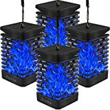 EOYIZW 4 Pack Hanging Solar Lights Outdoor,Solar Lantern Flickering Blue Flame Lights Landscape Decoration for Garden Lawn Pathway Tent Yard Patio