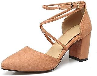 BalaMasa Womens ASL06441 Pu Block Heels