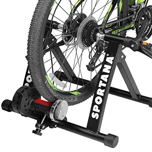 """Sportana Home Trainer vélo entraîneur de vélo Max. 150kg Noir Pliable Acier 26"""" à 28' Support 6 Niveaux de résistance entraînement vélo Frein"""