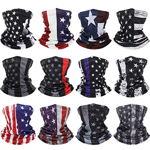 12 Pieces American Flag Face Covering Neck Gaiters US Flag Face Bandana Sun Wind Protection Balaclava Scarf for Summer and Winter, 9.4 x 16.5 inch