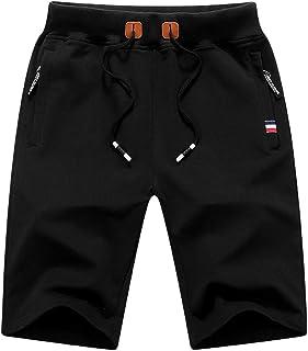 yuyangdpb Men's Shorts Running Casual Drawstring Elastic Waist Workout Shorts with Zipper Pockets