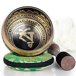 Silent Mind tibetische Klangschale Set ~ Balance und Harmonie ~ mit hochwertigem Holz Klöppel und Himalaya Kissen ~ perfektes zur Yoga Meditation, Entspannung und Achtsamkeit ~ das ideale Geschenkset