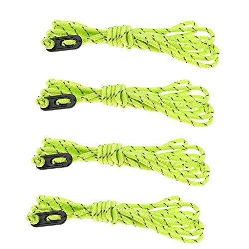 Baoblaze Cordón Tope de Viento Tensores Lona Picnic Playa Barbacoa Amortiguador Ligero - 4pcsx4m Verde a