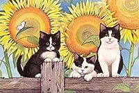 ジグソーパズル2000ピース子供大人の大きなジグソーパズルおもちゃギフトクリエイティブ減圧DIYチャレンジアート画像-フェンスの上の猫