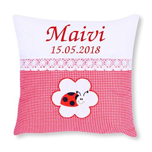 Amilian® Kissen 40 x 40 cm mit Namen Datum Pepita Rot + MARIENKÄFER