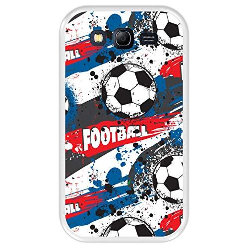 Hapdey Funda Transparente para [ Samsung Galaxy Grand Neo - Neo Plus ] diseño [ Patrón Deportivo con Bolas de Futbol ] Carcasa Silicona Flexible TPU