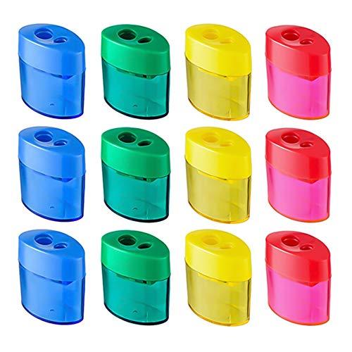 tao pipe 12 Stücke Bleistiftspitzer Doppel Loch Oval Bleistift Spitzer mit Deckel und Behälter Manueller Anspitzer Kinder Pencil Sharpener für Schule Büro