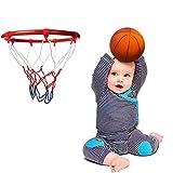 Knowledgi Canasta de baloncesto, puerta de baloncesto para colgar al aire libre para interiores con canasta de baloncesto fijada a la pared para todas las estaciones, 10 pulgadas