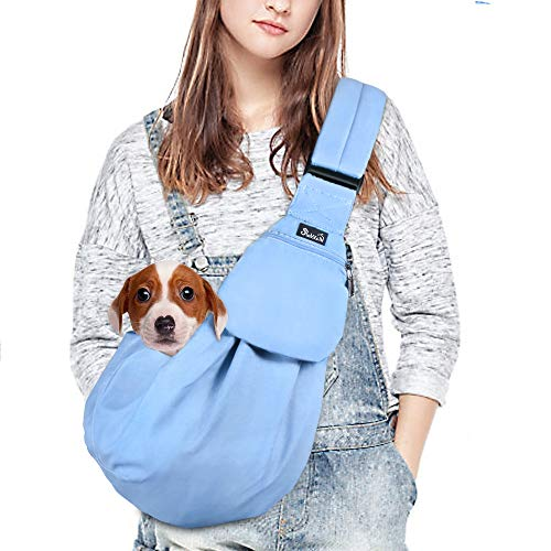 Nasjac Bolso de Hombro para Mascotas, Cachorro Gato Manos Libres Llevar Perro Papoose Carrie Bolsa con Bolsillo Frontal cinturón de Seguridad Ajustable Acolchado Correa para el Hombro al Aire