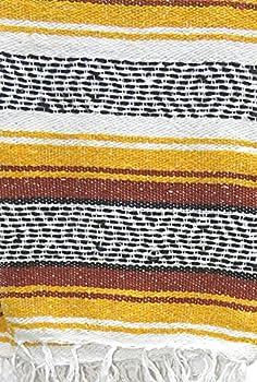 DistinctLook Faucsa mexicain Couverture/jeté de lit, 6 couleurs tissées à la main, fil recyclé, yoga, méditation, camping, pique-nique, festival (jaune et rouge)