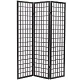 vidaXL Biombo Plegable con 3 Paneles Estilo Japonés 120x170cm Negro...