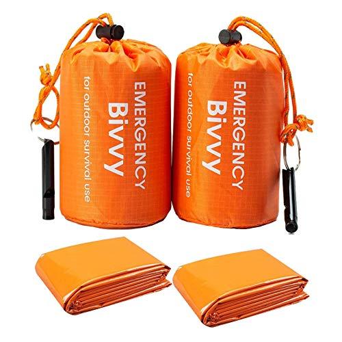 Remebe 2 Sacchi + 2 Survival Whistles Life Bivy Sacco a Pelo di Emergenza Bivvy Termico da Utilizzare Come Sacco da bivacco, Coperta di Emergenza in Mylar per Escursionismo all'aperto in Campeggio