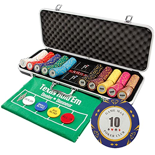 14g Custom Poker Chips Set 500 PCS Clay Composite Chip, Aluminum Case/Black...