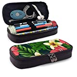 XCNGG Estuche para lápices neceser Tropical Background with Colorful Flowers PU Leather Pencil Case School Office Use Zipper Stationery Organizer