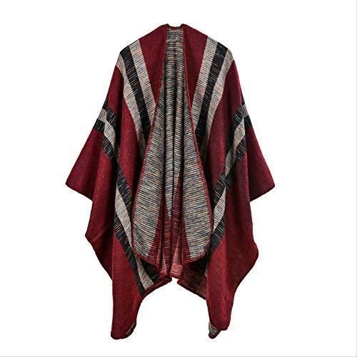 Ms Sjaal Imitatie Cashmere Grote Split Nationale Wind Sjaal Herfst En Winter Airconditioning Cape Cloak Accessoires