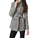 Calvin Klein Women's Double Breasted Wool Coat with Belt, Black White, X-Large