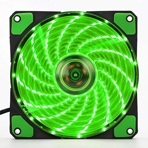 Ventilador para ordenador (120 mm, LED, silencioso, 15 ledes, 12 V, con conector Molex de goma, silencioso, fácil de instalar), color verde