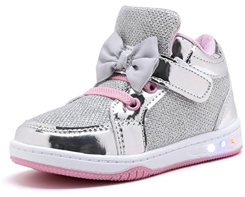 YILAN YL313 Toddler Glitter Shoes Girl's Flashing Sneakers With Cute Bowknot SIL/PNK-8