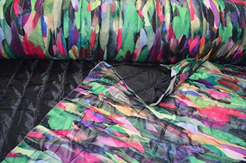 Fabrics-City SCHWARZ/BUNT WASSERABWEISEND DOUBLEFACE STEPPSTOFF FEDERN STOFF STOFFE, 4407