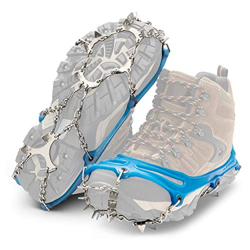 Yaktrax Ascent Heavy Duty Traction Cleats with 16 StainlessSteel Spikes Blue XXLarge 1 Pair