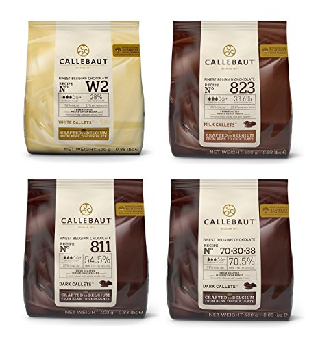 Callebaut 4 x 400g Bundle - Cobertura de Chocolate con Leche, Negro & Blanco Belga - Finest Belgian Chocolate (Callets) Lote de 4 x 400g