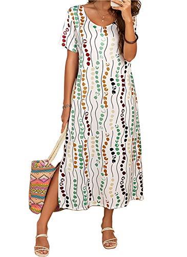 Vera Damen Sommer Freizeit Blumenmuster Boho Rundhalsausschnitt Strand Maxi Kleid (XL, Weiß)
