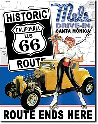Saraheve Mels Diner Drive in Route 66 Vintage Look 50039;s Hot Rod Retro Wall Decor Metal Tin Sign 8x12in