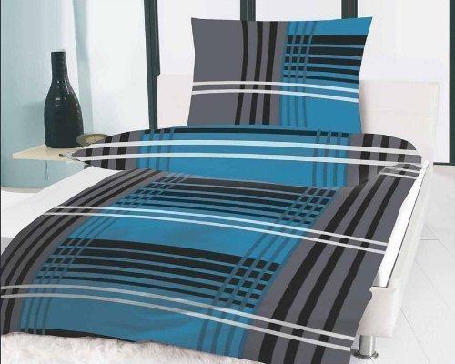Clic-And-Get Bettwäsche-Set, Mikrofaser, Schwarz, Grau, Weiß, Blau, Türkis, 135 x 200 cm