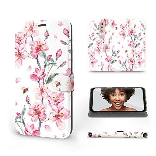 Mobiwear   Slim FLIP Hülle   Kompatibel mit Nokia 4.2, Made in EU handyhülle, Premium Schutzhülle, Transparent TPU Silicon, Book Style Hülle, Tasche - Kirschblumen