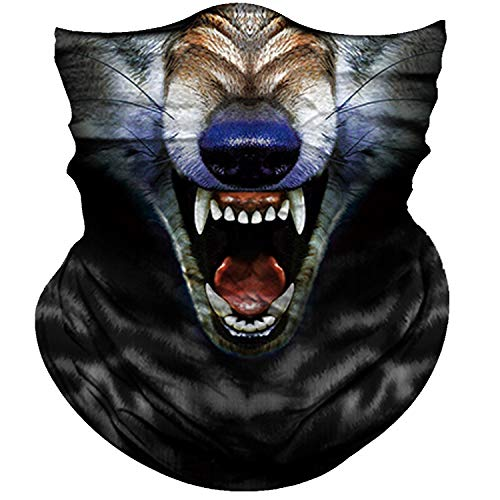 Obacle Motorcycle Face Mask Sun UV Dust Wind Protection Tube Mask Seamless Bandana Face Mask for Men Women Bike Riding Cycling Biker Fishing Outdoor Festival (Wolf Open Mouth Big Blue Nose)