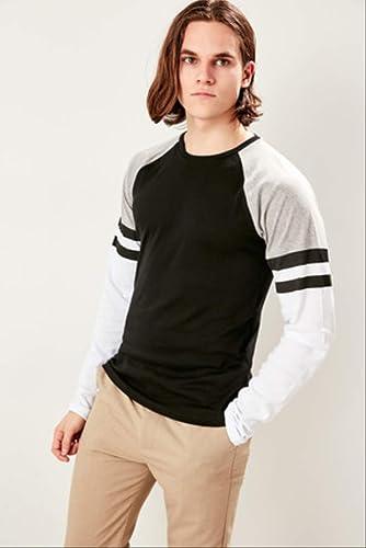 LFNANYI T-Shirts à Manches Courtes en Coton Noir et Noir à Manches Longues pour Hommes