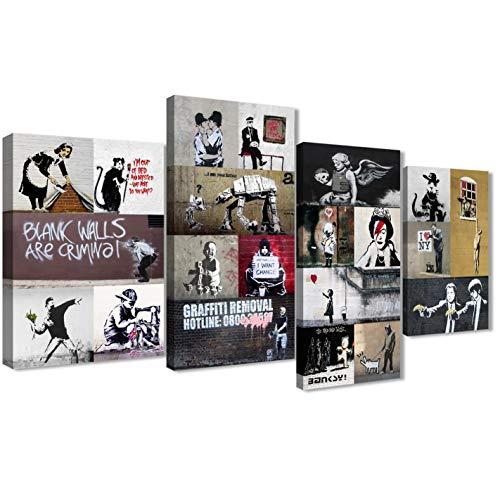Banksy 4500 Impression sur toile encadrée – Décoration de salon moderne – Grand format 129,5 cm de large