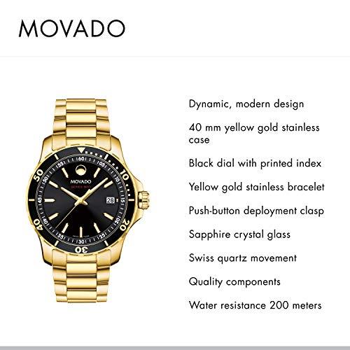 Movado Série 800 Le Sport en Or Jaune avec Un Cadran Regarder Index imprimé (2.600.145) pour Homme
