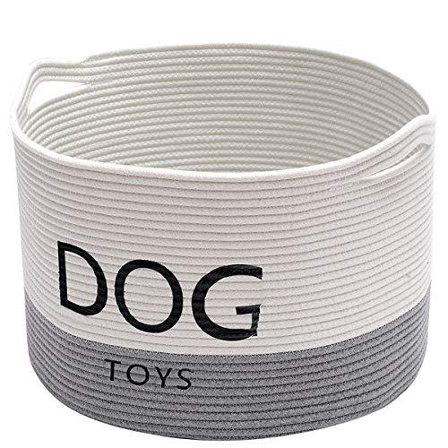 Geyecete Dog Storage Basket Round Cotton Rope Basket Dog Toy Storage Basket - Laundry Basket Storage Bin Pet Toy Storage Boxes -White/Gray