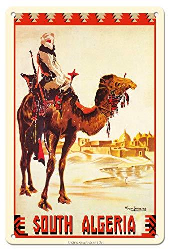 882 BOPNMJ South Argelia Nomad on Camel 20 x 30 cm Vintage Metal Placa de pared Cartel para Cafe Bar Pub Bar Cocina o Tienda