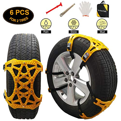 soyond Snow Tire Chains for Cars - Anti Slip Tire Straps Adjustable Universal Emergency Winter Anti-Skid Wheel Chains for Cars SUV Truck ATV Set of 6 Width 165-255mm/6.4-10.1'' (Light Yellow)