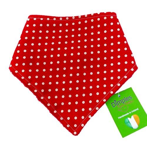 Dimples Hundehalstuch - Rot gepunktet/Punkte - Halstuch für kleine mittlere und Grosse Hunde Welpen und Katzen - Hunde Besitzer Geschenk - Handgemachtes Hunde Accessoire 25cm