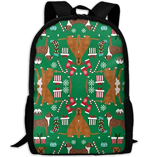 fsfsdafsaBags Christmas Holiday Presents Candy Canes Winter Snowflakes Dog Green 3D Print Sac à DOS de Voyage College School Laptop Bag Daypack Travel Shoulder Bag for Unisex